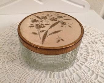 Glass and Goldtone Vanity Dish