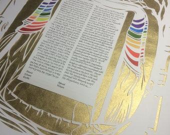Tallis Chuppah of Many Colors - Cherry Trees - papercut ketubah - wedding artwork - hand calligraphy