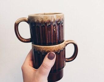 Vintage Stoneware Mugs | Set of 2