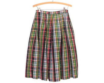 40s skirt * 1940s skirt * plaid taffeta skirt * vintage party skirt * full skirt * plaid skirt * xs