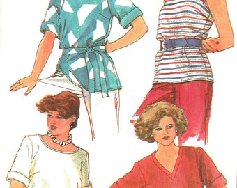 1980s Top Pattern Simplicity Pullover Knit Vintage Sewing Half Size Uncut Women's Misses Size 14. 5 - 18. 5 Bust 37 - 41 Inches