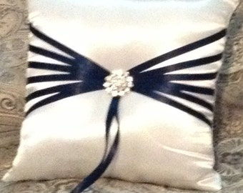 ring bearer pillow ivory or white with black or any color ribbon