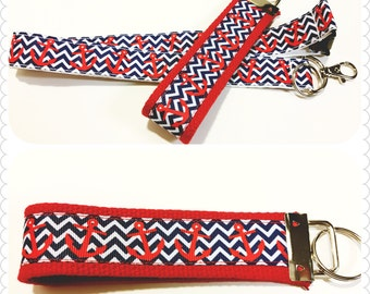 Nautical lanyard, badge holder or keychain in blue chevron and red anchors, Nautical gift