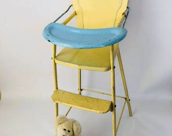 Vintage doll highchair shabby chic chippy paint metal display furniture Doll E Hichair