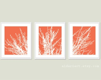 Modern Spring Tree Branches Digital Print Set  Woodland Home Decor - Coral - Contemporary Multi Panel Tree Triptych Wall Art