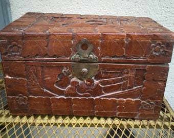 Hand Carved Asian Box  Free Shipping
