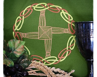 Celtic Knot Brigids Cross Embroidered Altar Cloth