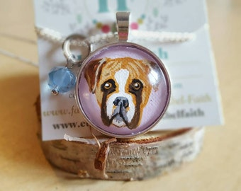 Boxer necklace, ready to ship, hand painted necklace, Valentine's day gift, ready to ship
