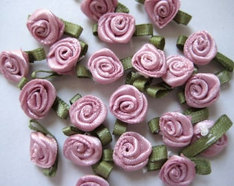 30 Small Mauve Satin Flower Appliqués with Green Leaves for Crafting, Sewing, Doll Clothes, Embellishement, Accessories - 0.75 inch / 2 cm