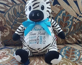 Personalized New Baby Gift Stuffed Animal Birth Announcement Baby Shower Gift Big Sister Gift Big Brother Gift Cubbies Zebra Nursery Decor
