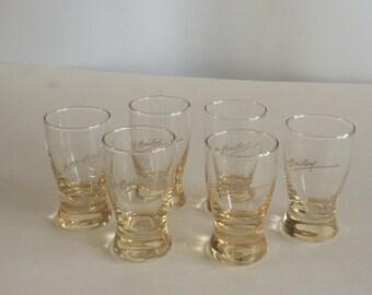 Set of Six R.A. Bailey Beige Coloured Shotglasses