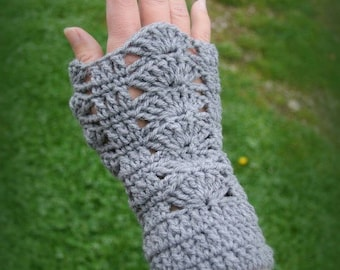 Gray arm warmers fingerless gloves knitted wool hand crochet only made in France