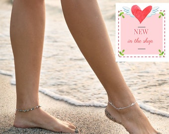 Silver Summer Anklet, Mixed Stone Anklet, Dolphin Anklet, Ankle Jewelry, Summer Jewelry, Boho Style