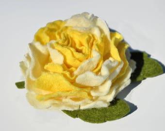 Felt flower rose brooch, headband, hair clip, yellow white rose brooch, wool flower pin, ready to ship.