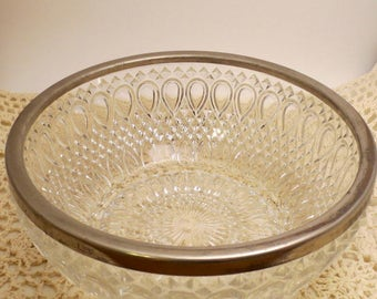 Vintage Cut Glass / Crystal Serving Bowl - English Silver Plate Serving Bowl - Crystal Salad Bowl