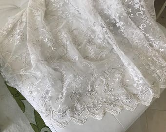 Beige sheer embroidered and sequin weaved 280 cm high approximately