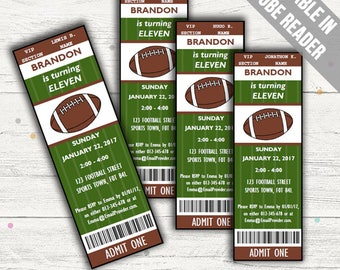 American Football Party Invitations. Editable PDF. Printable. Instant Download.