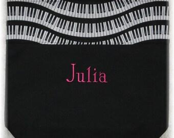 Children's piano music lesson book tote bag personalized black canvas wavy keyboard musician kids birthday recital teacher gift idea