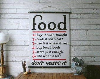 Food Chart / Vintage Pull Down Chart Reproduction / Canvas Fabric Print / Oak Wood Poster Hangers with Brass / Wall Hanging / Kitchen Decor