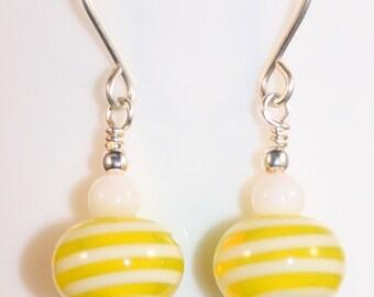 Lemonade Earrings - yellow and white lampwork beads and stones