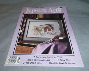 Leisure Arts, Craft Magazine Back Issue, June 1988, Cross Stitch, Crochet, Lace Edgings, Knitting