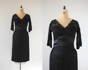 vintage 1950s dress / 50s black lace dress / 50s lace party dress / 50s LBD little black dress / lace cocktail dress / illusion bust /medium