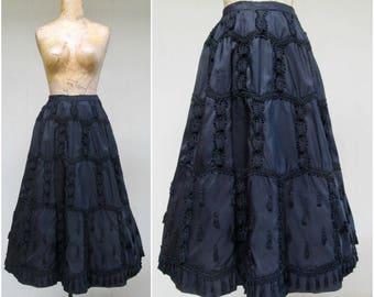 Vintage 1950s Skirt / 50s VLV Black Satin Soutache Full Skirt by Harvey Berin / Small