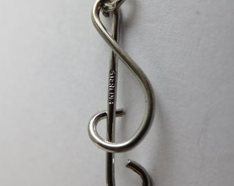 CLEF NOTE MUSICAL  Sterling Silver Charm or Pendant