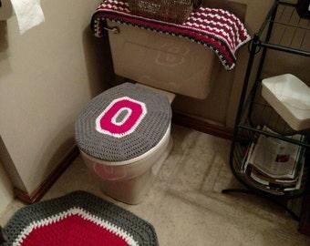 Beau Ohio State Buckeyes Crochet Toilet Seat Cover   Handmade Block O Bathroom  Decor   Ohio State