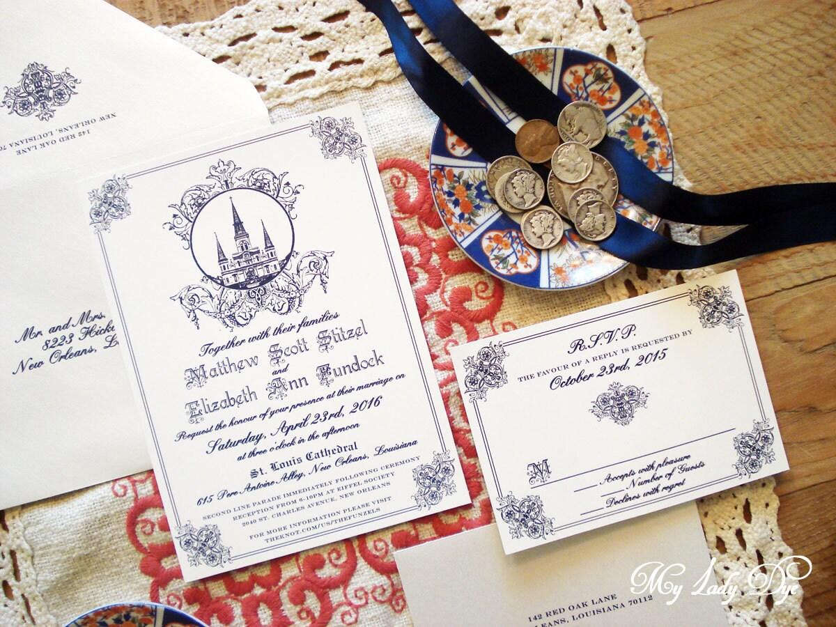 100 Jackson Square New Orleans Wedding Invitations St. Louis