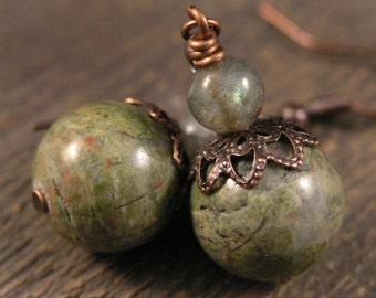 Olive green semi precious unakite stone, labradorite gemstone and antique copper handmade earrings