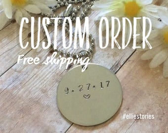 Custom Order Hand Stamped Pendant Necklace Charm FREE SHIPPING Personalize Custom Design Bridesmaids Wedding Anniversary Sobriety