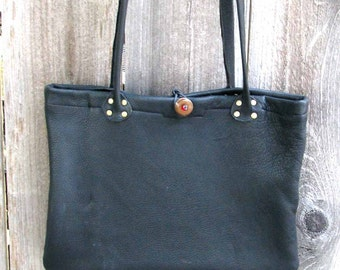 Black Deerskin Cross Body Soleil Shopper Tote with Pockets Handmade