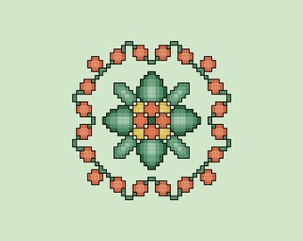 Orange Floral Quilt Square Cross Stitch Pattern PDF Digital Download