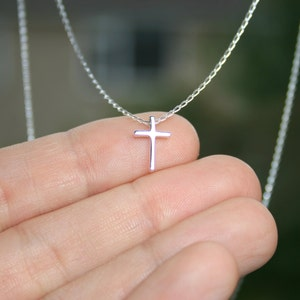 Tiny cross necklace, delicate cross necklace, sterling silver cross, silver cross, cross charm, cross pendant, religious necklace