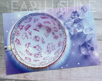 Paragon Fortune Teacup photo print 4x6, crystals, fortune teller, wiccan, quartz crystal photography,