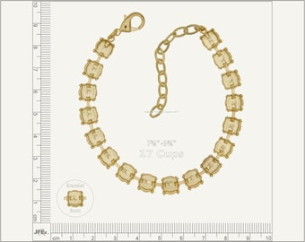 1 pc.+ 17 Cups, SS39 (8mm) Empty Cup Chain for Bracelet - Gold color