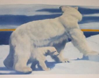 """Fred Machetanz """"Beginnings"""" Limited Edition Alaskan Artist Lithograph / Polar Bear"""