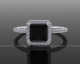 Princess Cut Black Diamond Engagement Ring, White And Black Diamond 14k White Gold Halo Ring, Wedding Ring Re0010