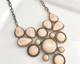 Blush Pink Bib Necklace,Blush Statement Necklace, Soft Pink Jewelry, Bib Necklace