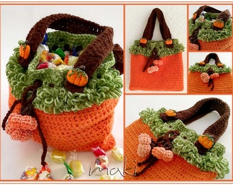 Crochet pattern - Trick or treat bag! Halloween bag! Permission to sell finished items. Pattern No. 215