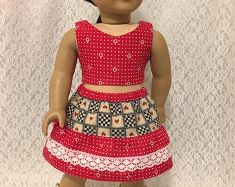 Red Crop Top and Skirt Set for 18 inch Dolls