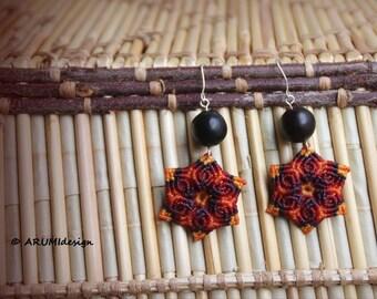 FIBER earrings RED FLOWER, flower earrings, dangle earrings with silver hooks & natural seeds