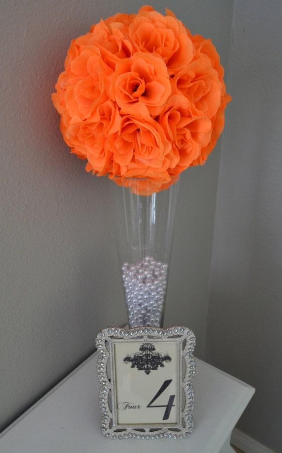 Bright ORANGE flower ball WEDDING CENTERPIECE Premium Soft