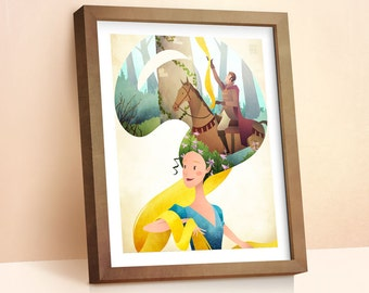 Rapunzel Illustration Print | Princess Fairy Tale | Girls Room Decor | Nursery Decor | Girls Wall Art | Gift For Kids | Disney