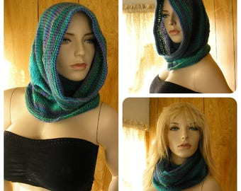 "Knit dragonfly hooded cowl, cowl, infinity scarf,  hood, pixie hood, hand knit in blended shades, it is 24"" around and 20"" long"
