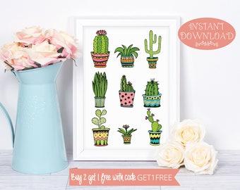 Printable Wall Art, Cactus Wall Art, Wall Art Prints, Cactus Print, Wall Art, Printables, Minimalist Print, Modern Art, Instant Download