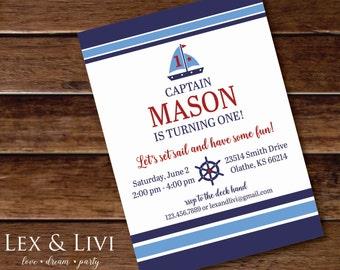 Nautical Birthday Invitation - Sail boat Invitation - Nautical Printable - Boy Birthday - First Birthday - Nautical Stripes - Helm