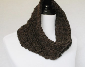 Brown Crochet Cowl, Short Infinity Scarf, Soft Crochet Collar, Chocolate Neck Warmer, Dark Brown Cowl