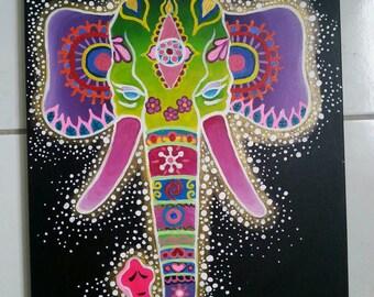 Etherical elephant purple husks lotus flower original painting